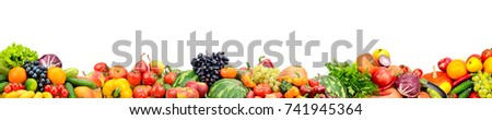Panoramic collection fresh fruits and vegetables isolated on white background. Free space for text. - Shutterstock ID 741945364