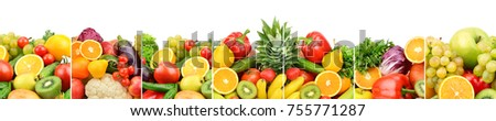 Panoramic collection fresh fruits and vegetables isolated on white background. Wide photo with free space for text. - Shutterstock ID 755771287