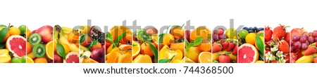 Panoramic collection fresh fruits isolated on white background. Wide photo with free space for text. - Shutterstock ID 744368500