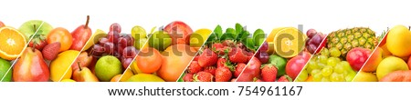 Panoramic collection fresh fruits isolated on white background. Wide photo with free space for text. - Shutterstock ID 754961167