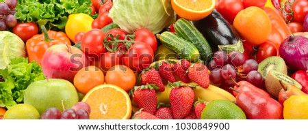 Panoramic collection fresh healthy fruits and vegetables. #1030849900