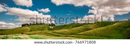 Panoramic color picture of beauty view on Cherhill White Horse in England.Wiltshire county. Stock photo ©