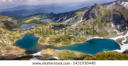 Panoramic, colorful, sunlit view from the Lakes summit on Rila mountain of The Twin lake, The Trefoil lake, Fish Lake and The Lower lake #1431930440
