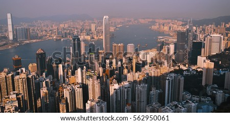 Panoramic  colorful View of Hong Kong Cit. Daylight, top view. #562950061