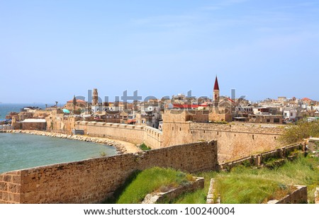 Panoramic colorful view on the old city of Akko (Israel)