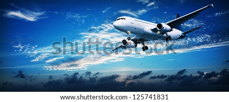 Panoramic composition of a flying jet in a sunset sky