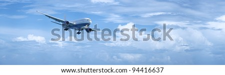 Panoramic composition of a jet plane in a cloudy sky in high resolution