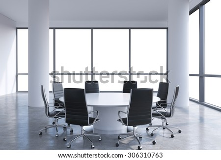 Panoramic conference room in modern office, copy space view from the windows. Black chairs and a white round table. 3D rendering.