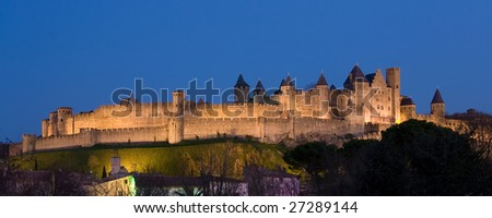 Panoramic dark of Carcassonne (France)