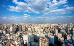 Panoramic downtown aerial view of Sao Paulo, Brazil . Metropolis cityline from above during a sunny day.