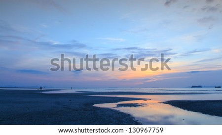 Panoramic dramatic  sunset sky and sea of Thailand