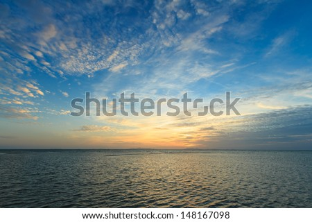 Panoramic dramatic sunset sky and tropical sea at dusk #148167098
