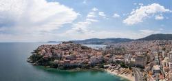 Panoramic drone photo of Kavala, Greece