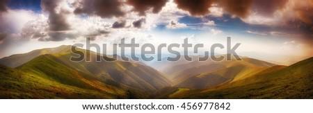 Panoramic from Polonina Borzava (Carpathians, Ukraine 2016) #456977842