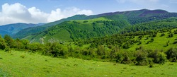 Panoramic green landscape in the valley with mountains and lush vegetation. Santander.