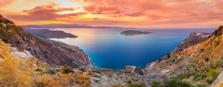 Panoramic high point view of the picturesque gulf of Mirambello, Crete, Greece