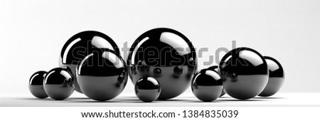 panoramic illustration of different metal spheres 3d rendering