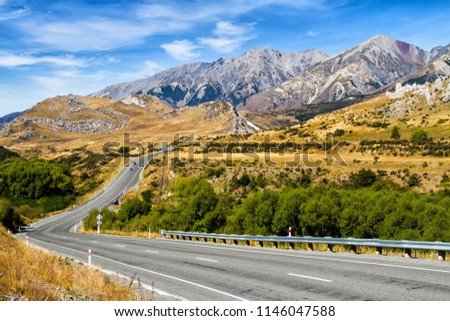 Panoramic image of beautiful scenery of Arthur's pass National Park in summer, South Island of New Zealand. Castle Hill