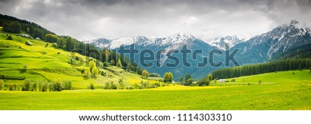 Panoramic image of beautiful Switzerland landscape. #1114303310