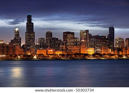 Panoramic image of Chicago skyline at dusk.