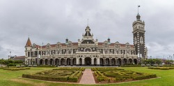 Panoramic image of Dunedin railway station, Dunedin, South island of New Zealand