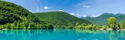 Panoramic image of Most Na Soci lake in Triglav,Slovenia.