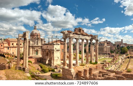 Panoramic image of Roman Forum, also known as Foro di Cesare, or Forum of Caesar, in Rome, Italy, on a bright summer day.