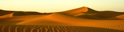 Panoramic image of Saharan Desert sand dunes taken in Morocco