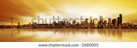 Panoramic Image of the city of Seattle at sunset