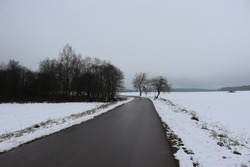 Panoramic image of the winter landscape. Trees without leaves, white snow, asphalt road, turn and overcast sky. Dreary nature in the cold season.