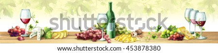 Panoramic image of wine and grapes. Watercolor