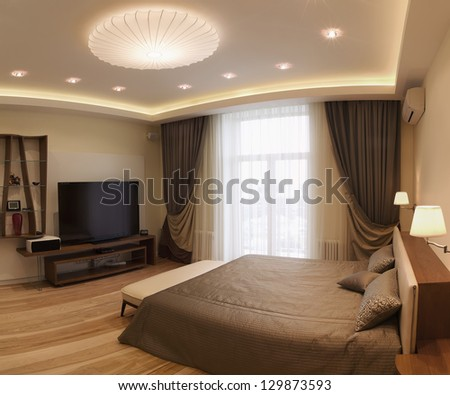 Panoramic Interior design series of nice cozy bedroom