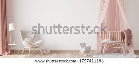 Panoramic interior for baby's room Scandinavian style, rattan crib with pink canopy, beige armchair and wooden toys on empty bright background. Trendy minimal design, 3D render, 3D illustration