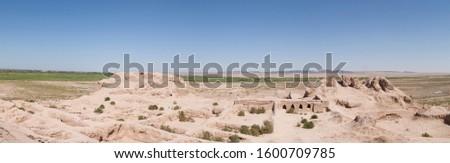 Panoramic interior view of the Topraq Qala fortress (Uzbekistan)