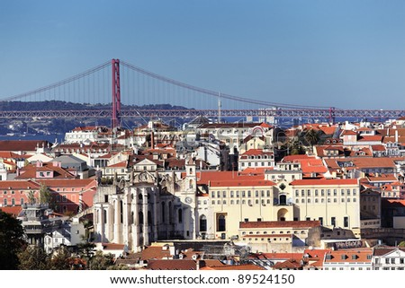 Panoramic kind to Lisbon and the river Tagus, Portugal