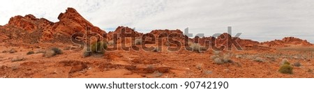 Panoramic landscape in Valley of Fire State Park, Nevada.