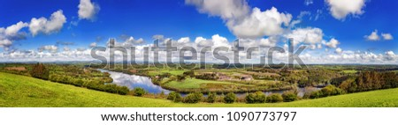 Panoramic landscape of Curraleigh on sunny cloudy day, County Cork, Ireland #1090773797
