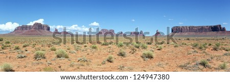 panoramic landscape of Monument Valley, Utah, USA.