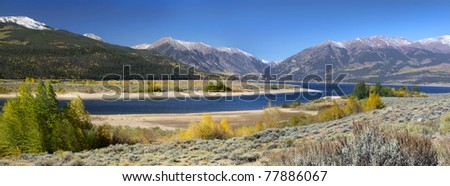 Panoramic landscape of scenic twin lakes recreation area