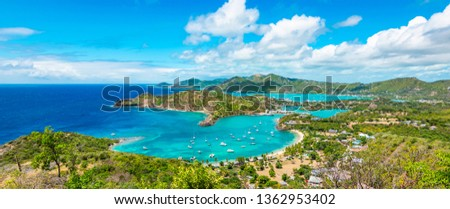 Panoramic landscape of Shirley Heights, Antigua and Barbuda