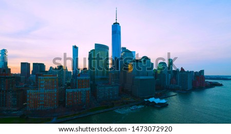 Panoramic landscape view of lower Manhattan with the one world trade building, New York City -usa. Stock fotó ©