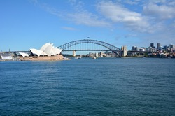 Panoramic landscape view of Sydney skyline with the Opera House and Sydney Harbour Bridge in Port Jackson New South Wales, Australia. No people. Copy space