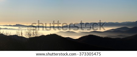 Panoramic landscape with layers of mountains. Spain.