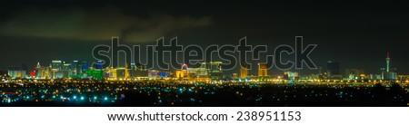 Panoramic Las Vegas Strip cityscape at night. #238951153