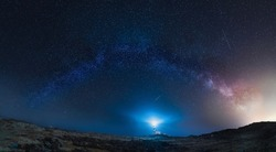 Panoramic long exposure Night astrophotography. Milky Way over Favaritx lighthouse, Menorca, Balearic Islands, Spain