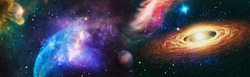 Panoramic looking into deep space. Dark night sky full of stars. The nebula in outer space. Elements of this image furnished by NASA.