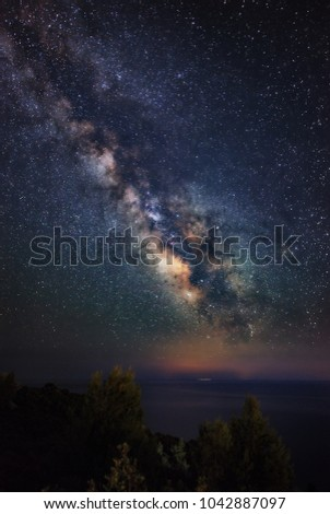 Panoramic Miliky Way over the Aegean sea. Milky Way galaxy from Peninsula Kassandra, Halkidiki, Greece. The night sky is astronomically accurate. #1042887097