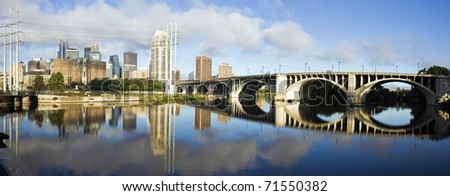 Panoramic Minneapolis - view with Mississippi River
