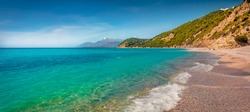 Panoramic morning view of Lukove beach with endless horizon. Adorable spring seascape of Adriatic sea. Attractive outdoor scene of Albania, Europe. Beauty of nature concept background.