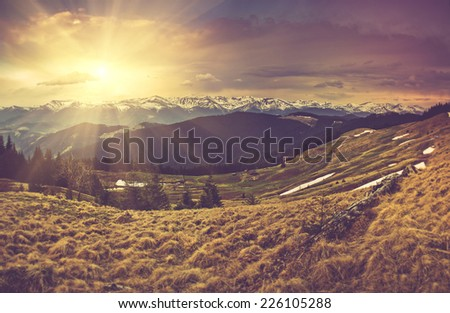 panoramic mountain landscape in ...